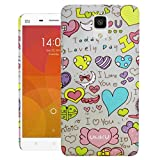 Heartly Printed Heart Design High Quality Toughr Hard Bumper Back Case Cover For Xiaomi Mi4 - Blue Heart