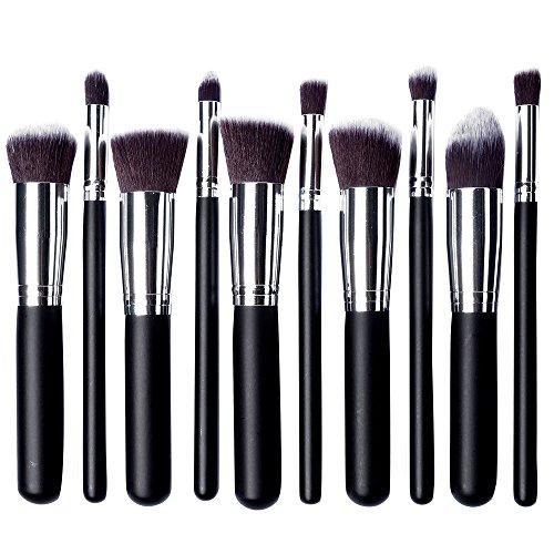 Skyblue-uk Kit De Pinceau Maquillage Professionnel 10PCS Manches en Bois Noir Pinceau Poudre Eyebrow Shadow Blush Fond De Teint Anti-Cerne