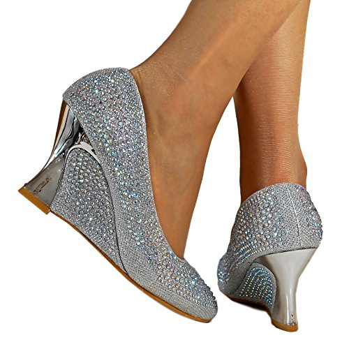Silver Wedge Shoes: Amazon.co.uk