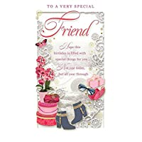 """Special Friend Birthday Card - Happy Birthday Orchid, Boots & Present 9"""" x 4.75"""""""