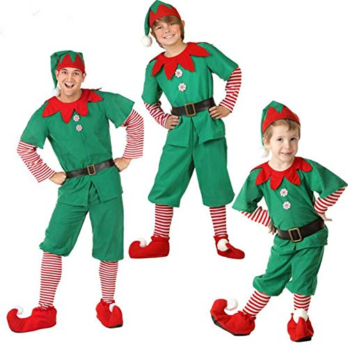 Adult-Kind Prestigeträchtiges Womens Santa Claus Helfer Green Holiday Elf Weihnachts-Kostüm Sweet Dress Make You Jingle All The Way-3pcs,men'swear,110CM (Frech Und Nett Kind Kostüm)