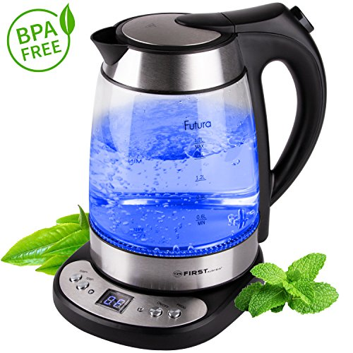 Glas Wasserkocher 1,7 Liter BPA Frei/ Temperatureinstellung 50-100 Grad / 2 Stunden Warmhaltefunktion /Kabellos mit Kalkfilter und verdecktes Heizelement / blaue LED Beleuchtung / Temperaturanzeige / LED Display
