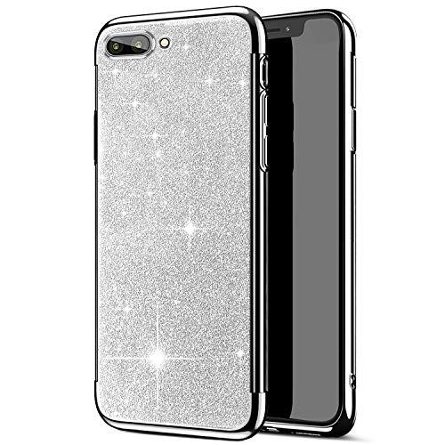 JAWSEU kompatibel mit Huawei Honor 10 Hülle,Huawei Honor 10 Handyhülle, Glänzend Glitzer Strass Silikon Schutzhülle Case,Crystal Clear TPU Silikon Schutz Handytasche Schutzhülle,Silber Crystal Clear Schutz