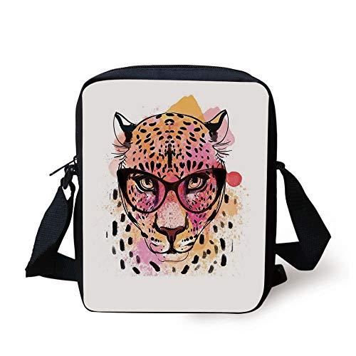 Fashion House Decor,Watercolor Portrait of Leopard with Glasses Splashing Paint Style,Orange Pink Print Kids Crossbody Messenger Bag Purse -