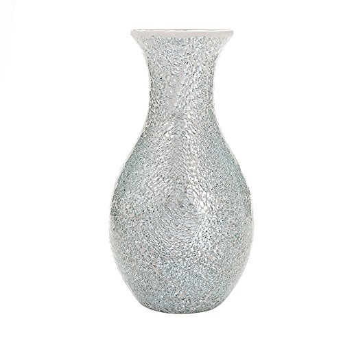 """Mosaic Vases Large small 12"""" or 16"""" Decorative Glitter Sparkle vase gift present H28 (Large, Silver White)"""