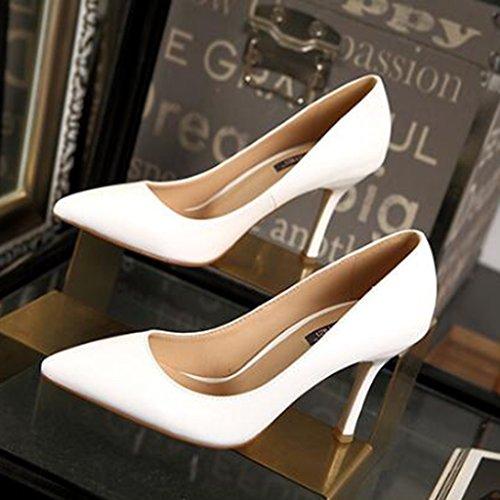 Ren Chang Jia Shi Pin Firm Weiblicher Sommer kippte die hohen hohen Absätze der hohen Absätze, die mit feinen Schuhen der Schuhe elegante lederne hohe Absätze reizvoll sind (Color : Weiß, Size : 35) -