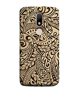 PrintVisa Designer Back Case Cover for Motorola Moto M (Funky Leaves Flowers Zigzag Curves)