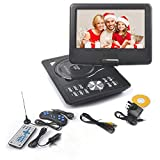 51 NcgiBo8L. SL160  - BEST BUY #1 Rainyblue 2017 9 Inch Portable DVD Player Swivel Screen with Rechargeable Battery, Rainyblue 270° LCD Eye Protection Swivel Screen, In Car Charger Game SD USB, with Remote Controller + Game handle +Car Charger - Black Reviews and price compare uk