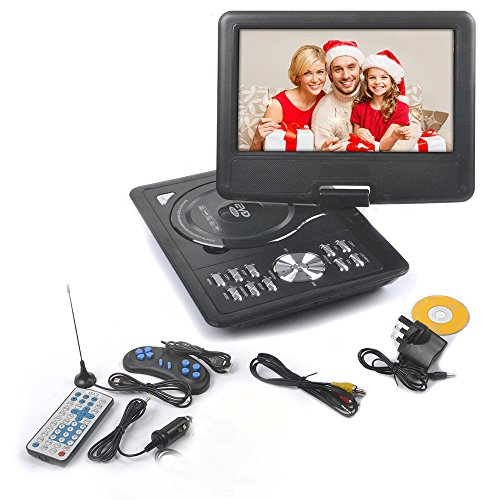 51 NcgiBo8L - BEST BUY #1 Rainyblue 2017 9 Inch Portable DVD Player Swivel Screen with Rechargeable Battery, Rainyblue 270° LCD Eye Protection Swivel Screen, In Car Charger Game SD USB, with Remote Controller + Game handle +Car Charger - Black Reviews and price compare uk