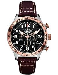 Nautica A16593G - Reloj para hombres, correa de cuero color marrón