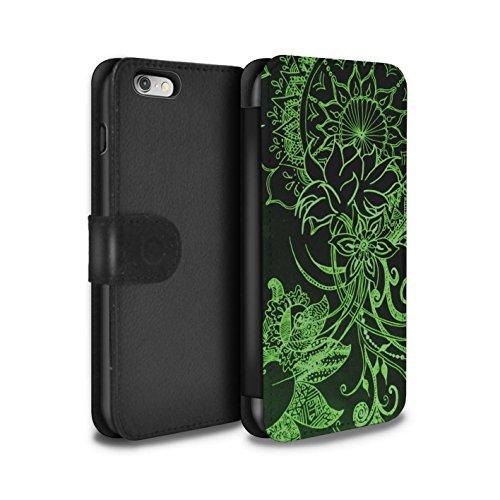 STUFF4 PU-Leder Hülle/Case/Tasche/Cover für Apple iPhone SE / Schwarz/Rosa Muster / Henna Paisley Blume Kollektion Schwarz/Grün