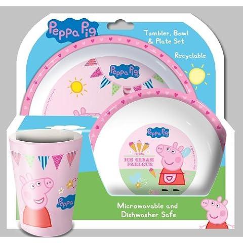 Peppa Pig Set 3 Pezzi: Bicchiere, Ciotola e Piatto