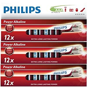 36 Pack of Philips AAA Cell LR03 MN2400 Alkaline Batteries Powerlife Extra Value Multipack