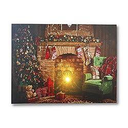 NIKKY HOME LED Weihnachten Leinwand Gemälde Dekorative LED-Leuchten Bild drucken Weihnachtsbaum Kamin
