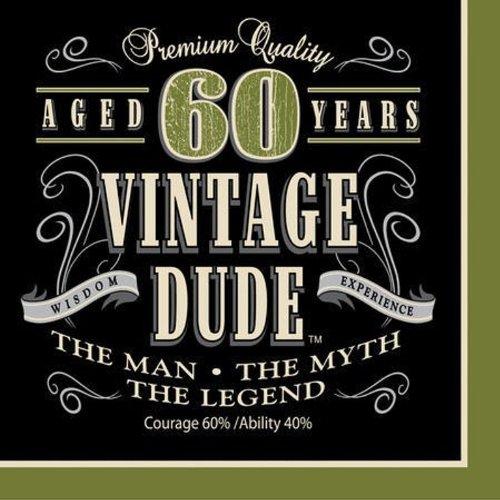 Unbekannt Creative Converting 16Count Vintage Dude zum 40. Geburtstag Lunch-Servietten, Papier, Vintage Dude 60th Birthday, Lunch (Dekorationen Dude-party Vintage)