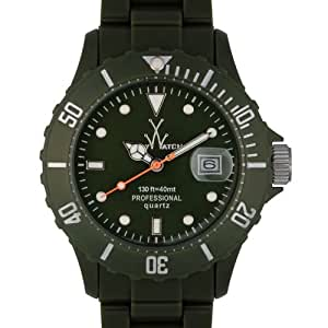 ToyWatch Fluo Time Only Watch FL37HG All Hunter Green Unisex Plasteramic Plastic Ceramic Date Display Rotating Bezel