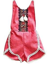 Ropa de bebé,AZXES,Ropa del Boutique del Bebé,el Estilo de la Verano de los Mamelucos del Niñas,Color rojo