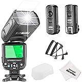 Neewer® NW-562C E-TTL Flash Speedlite Kit per Canon Fotocamere DSLR, Inclusi: (1) NW562C Flash + (1) FC-16 2.4Ghz Wireless Trigger (1 * Trasmettitore + 1 * Ricevitore) + (1) Stoffa di Pulizia in Microfibra