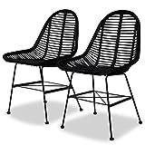 Festnight Esszimmerstühle Küchenstuhl Stuhl Set 2 STK. Rattan Natur Schwarz