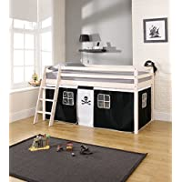 Noa and Nani - Midsleeper Cabin Bed with Pirate Tent - (Whitewashed Pine)