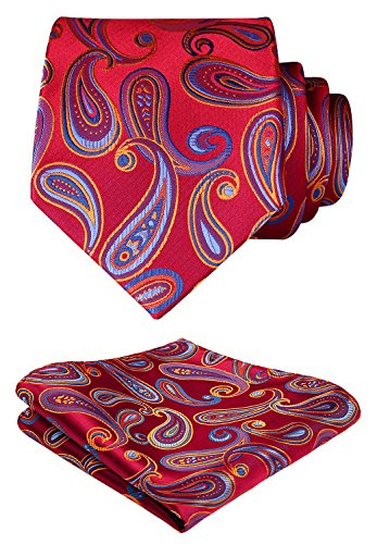 Hisdern?Panuelo de lazo de boda Paisley floral Panuelo de corbata de hombre y conjunto de bolsillo cuadrado rojo azul