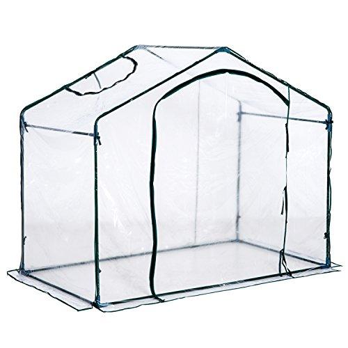 Outsunny Foliengewächshaus Gewächshaus Treibhaus Tomatenhaus mit Fenster, Stahl+PVC, 180x105x150cm