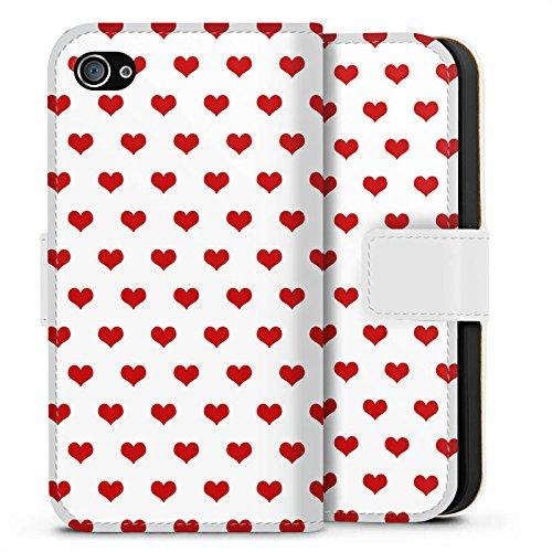 Apple iPhone X Silikon Hülle Case Schutzhülle Polka Herzen Herzchen Oktoberfest Sideflip Tasche weiß