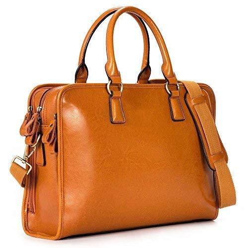 Kattee Damen Leder Aktentasche Messenger Bag 14