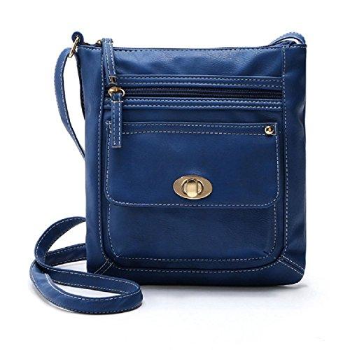 Susenstone Donna Pelle cartella della spalla del corpo della traversa Messenger Bag Blu