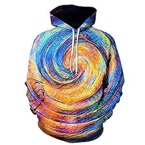 SIRIGOGO Herren Männer Kreative Freizeit Hoodies 3D Geometric schwindlig Print Coat Langarm Kapuzenpullover