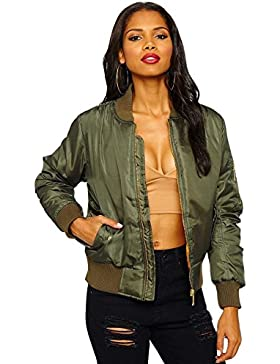 Cazadora bomber para mujer, diseño vintage con cremallera, abrigo acolchado