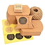 Okaytec Set Scatole per Regalo - 100 Sacchetti Scatoline di Carta Kraft 7 X 9cm & Spago Iuta di 50m & 102 pz Carta Adesiva per Confezione 4cm & 1 Timbro per Confezione Regalo
