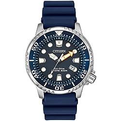 Citizen Hombre Divers Eco Drive Reloj de Mujer con Esfera analógica Azul Pantalla y Azul Correa de PU bn0151–09L