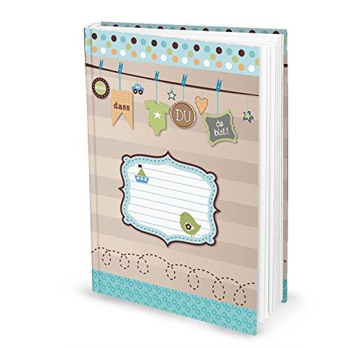 Leeres blau türkis grün XXL Babytagebuch Jungen Sohn Baby Tagebuch Erstes Jahr SCHÖN DASS DU DA BIST Buch Babybuch Geschenk Eltern Geburt Kindertagebuch DIN A4 Taufe Geburtstag