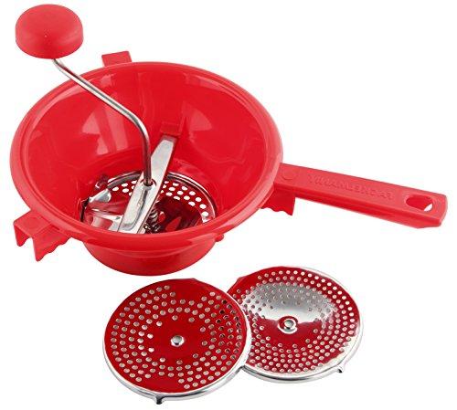 Fackelmann Passiergerät, Passiermühle aus Edelstahl/Kunststoff, Passiersieb inkl. 3 Einsätze (Farbe: Silber/Rot), Menge: 1 Stück