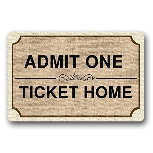 ne Ticket Home Welcome Mat Indoor/Outdoor Doormat 23.6(L) X15.7(W) inch Non-Slip Machine-Washable Home Decor ()