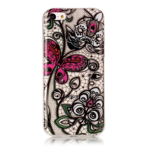 Coque pour iPhone 5C, Vandot Soft TPU Cell Phone Case Souple Silicone Gel Étui de Protection pour iPhone 5C Souple TPU Silicone Case Moderne Beau Motif Colombe Blanche et Arbre Hull Shell Coquille Cou C-Papillon