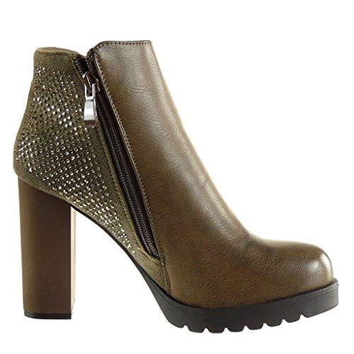 Angkorly - Chaussures Mode Bottines - Bottes Cavalières Pour Femmes Avec Strass Zip Bloc Talon Hauts Talons 10 Cm Kaki