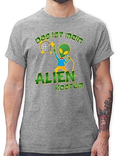 Karneval & Fasching - Das ist Mein Alien Kostüm Disco - M - Grau meliert - L190 - Herren T-Shirt und Männer Tshirt (Frühjahrs Kostüm Alien)