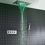 Colonna doccia,360x500 mm Sistema di Doccia Termostatico LED Multifunzione, Modalità Pioggia, 304 Acciaio Inossidabile, Set Doccia