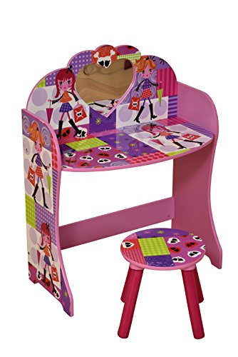 LibertyHouseToys Frisiertisch und Hocker Fashion Girl Set, Holz, Mehrfarbig