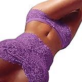 Sexy Dessous, Beikoard Sexy Damen Dessous Lace Tube Top Slips Unterwäsche Set feste Farbe Club Nacht (Violett, S)