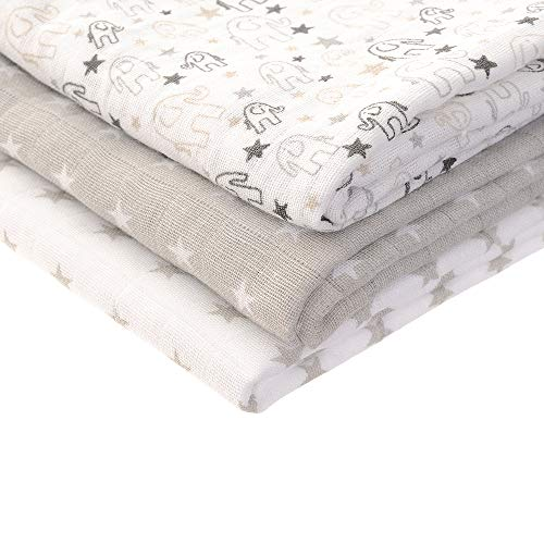 Zippy Muslin Mantas finas muselina elegante gris blanco