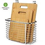 Homever Tagliere, Set di Tagliere in bambù a 3 Pezzi Plus Cestello Appeso - Tagliere Organico Antibatterico con Supporto per cestello portaoggetti in Acciaio Inossidabile