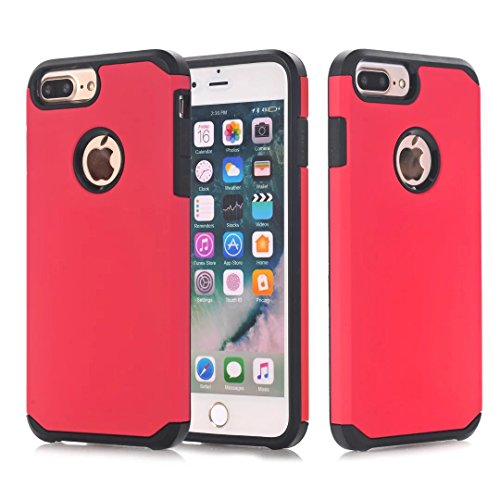 """iPhone 7 Plus Coque, Lantier 2 en 1 Combo Classic Design High Impact antichoc en silicone souple et dur PC lourd protection Duty cas Couverture arrière pour Apple iPhone 7 Plus 5.5"""" rouge Red"""