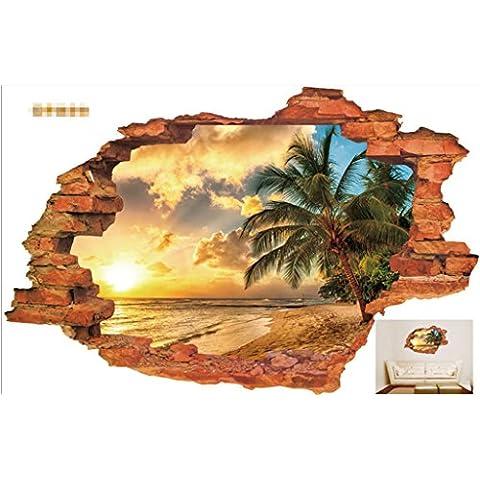 GJX@ Adesivi murali Paesaggio 3D stereoscopico adesivo da parete per bambini camera sfondo adesivi rimovibili Wall Art Sticker , 60*90cm
