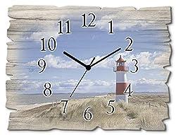 Artland Wanduhr ohne Tickgeräusche aus Holz Funk Uhr lautlos Querformat 40x30 cm Shabby Landhausstil Maritim Strand Meer Leuchtturm Sylt T9ML