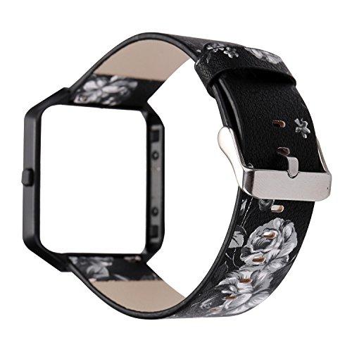 Gimartuk Echtes Lederband für Armbanduhr, Armband mit Blumenmuster, Armband Für Fitbit Blaze mit Stahlrahmen, damen, Black/Grey+Black Frame, Small / Large