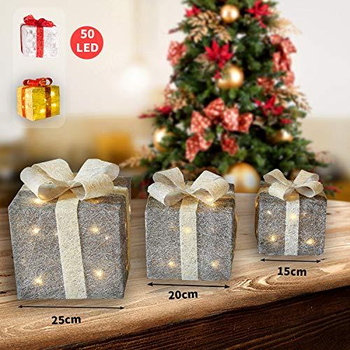 CCLIFE 3er Set LED-Geschenkbox mit 50 LED beleuchtete funkeln Geschenkbox leuchtende Geschenkpackung Dekoration, Farbe:Silber+Beige - Weihnachten Geschenkboxen Beleuchtete