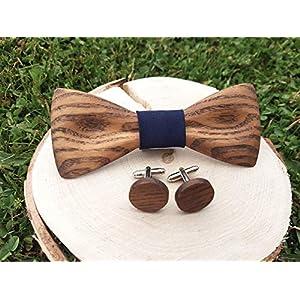 Holzfliege, Holz fliege und Manschettenknöpfe, Fliege und Manschettenknöpfe aus Holz